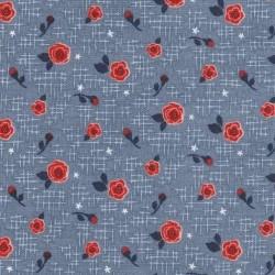 tissu patchwork à fleurs bleu et rouge 3025