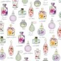 tissu patchwork, flacons de parfum