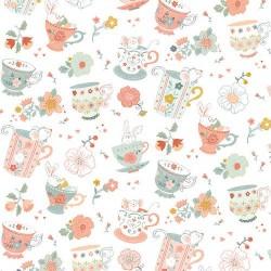 tissu patchwork, tasses de thé