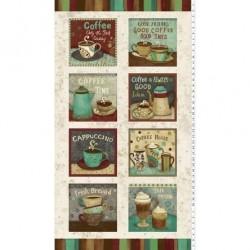 tissu patchwork, en panneau sur le thème du café collection Coffee Shop