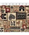 tissu patchwork foncé avec des chiens, collection Wigglebutts