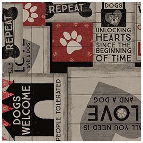 tissu patchwork avec des chiens, collection Wigglebutts