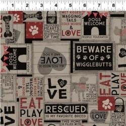 tissu patchwork gris foncé avec des chiens, collection Wigglebutts