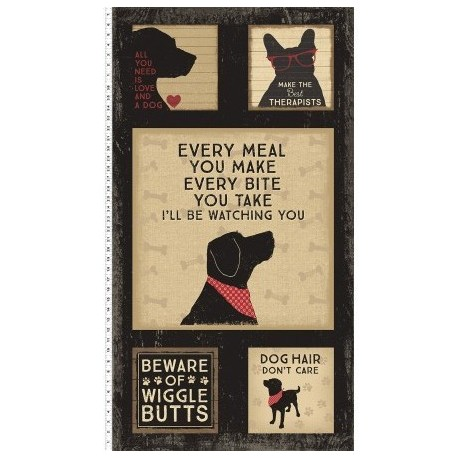 tissu patchwork avec des chiens, collection Wigglebutts, panneau d'étiquettes