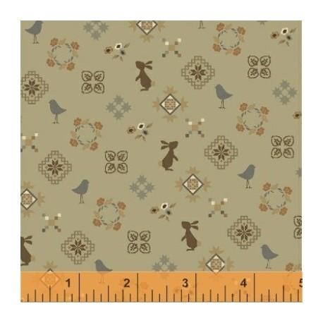 tissu patchwork vert imprimé lapins et oiseaux Collection french armoire de l'Atelier Perdu 51556-4