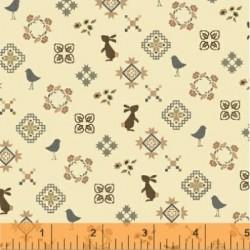 tissu patchwork imprimé lapins et oiseaux Collection french armoire de l'Atelier Perdu 51556-3
