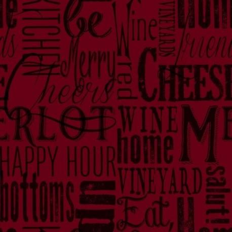 tissu patchwork sur le thème du vin, avec des écritures sur le vin