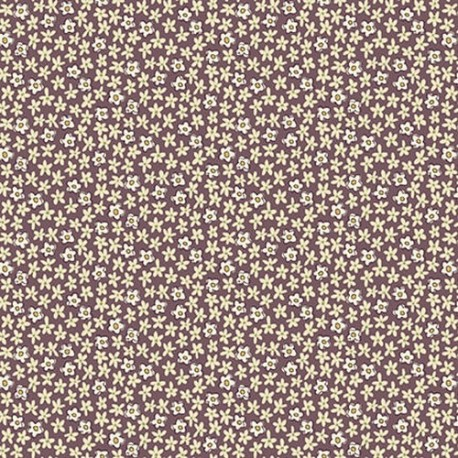 "tissu patchwork fleuri marron glacé vanille Collection ""Tealicious"" Anni Downs fleuri prune"