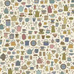 """tissu patchwork motifs autour du thé sur fond écru Collection """"Tealicious"""" Anni Downs"""