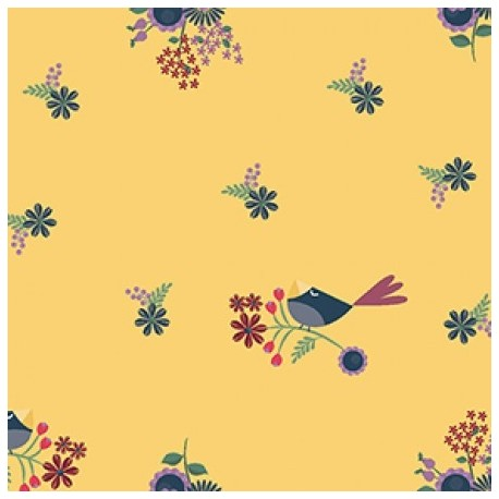 tissu patchwork fleuri jaune avec des oiseaux collection Rosewood