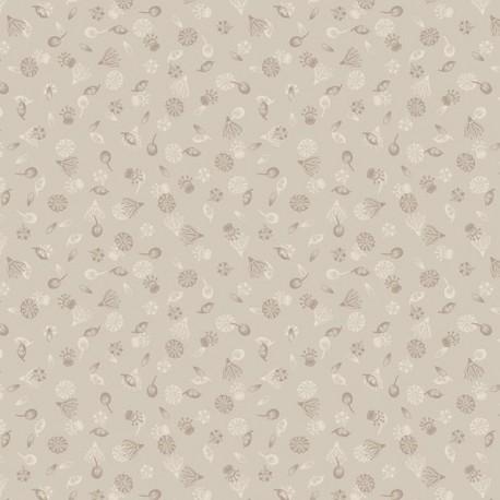 tissu patchwork écru avec des fleurs collection botanic garden