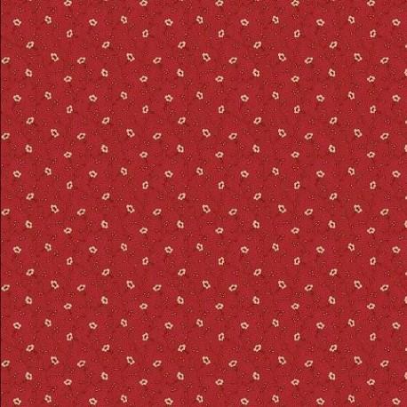 tissu patchwork rouge, petites fleurs