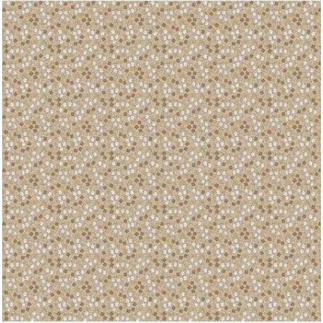 tissu patchwork beige orangé fleuri 1233
