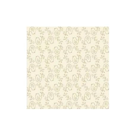 tissu patchwork écru avec de petits oiseaux Among the Flowers