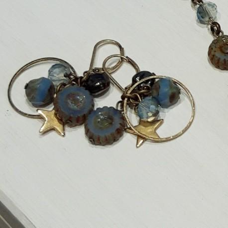 Boucles d oreilles nuit d orage bleu gris métal vieil or