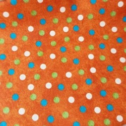 tissu patchwork orange à pois