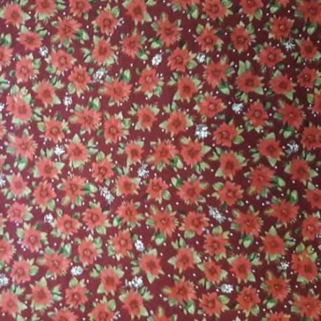 tissu patchwork fleuri collection holidays rouge