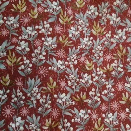 tissu patchwork fleuri collection holidays rouge et vert