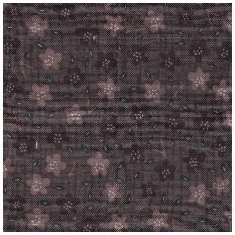 tissu patchwork fleuri marron