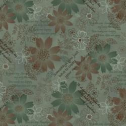 tissu patchwork gris vert avec des fleurs vertes et marron