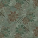 tissu patchwork gris vert avec des fleurs