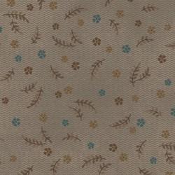 tissu patchwork gris avec des petites fleurs turquoise et marron