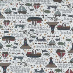tissu patchwork imprimé marin fond blanc collection Ship To Shore Lynette Anderson