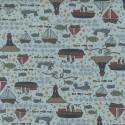 tissu patchwork imprimé marin fond gris bleuté clair collection Ship To Shore Lynette Anderson