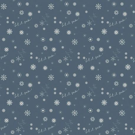 tissu patchwork de noël bleu avec des flocons de neige