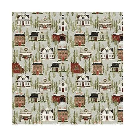 tissu patchwork de Noël imprimé maison américaines