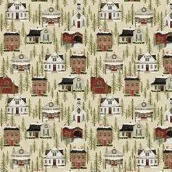 tissu patchwork de Noël imprimé maison américaines fond beige
