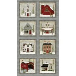 tissu patchwork de Noël en panneaux d'étiquettes imprimé de maisons