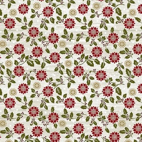 tissu patchwork de Noël imprimé de fleurs et houx
