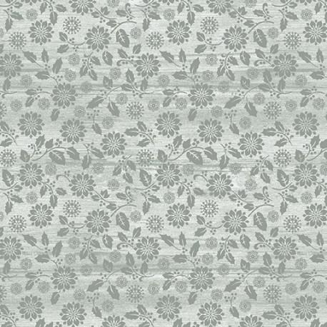 tissu patchwork fleuri gris clair imprimé ton sur ton
