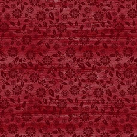 tissu patchwork imprimé ton sur ton fleuri rouge