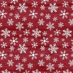 tissu patchwork imprimé cristaux de givre sur fond rouge
