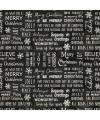 tissu patchwork imprimé écritures sur fond noir