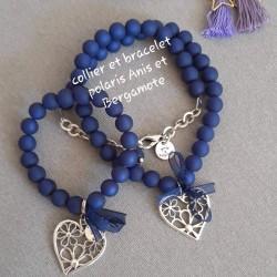 Bracelet bleu marine, perles polaris