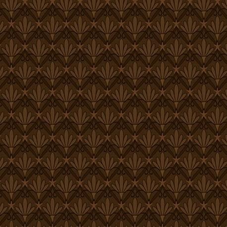 tissu patchwork fleurs de citrouille coloris marron