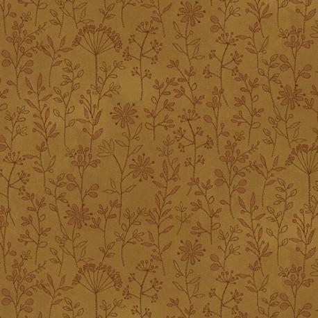 tissu patchwork imprimé de brins fleuris coloris or