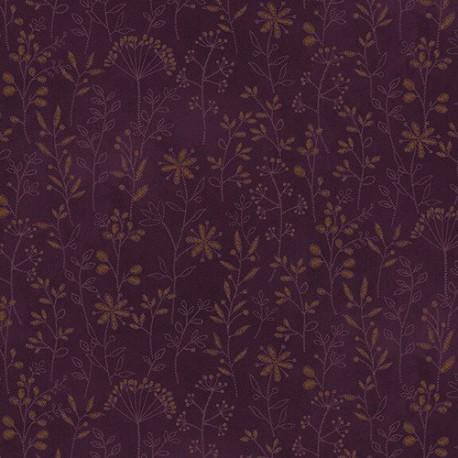 tissu patchwork imprimé de brins fleuris coloris violet