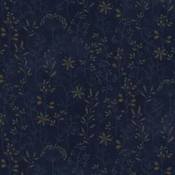 tissu patchwork imprimé de brins fleuris coloris bleu