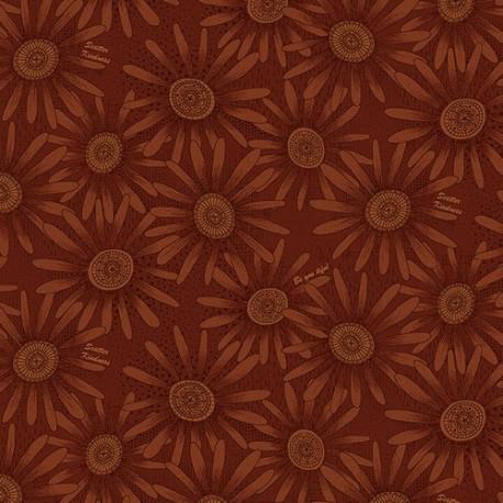 tissu patchwork fleuri orange ton sur ton