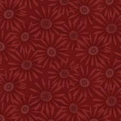 tissu patchwork fleuri rouge ton sur ton