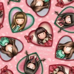 Gorjuss tissu patchwork coeurs sur fond rose