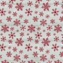 tissu patchwork imprimé cristaux de givre rouge sur fond marbré clair