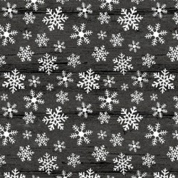 tissu patchwork imprimé cristaux de givre blanc sur fond noir