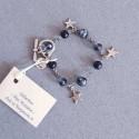Bracelet bleu montana étoiles, vieil argent