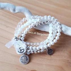 Bracelet métal argenté et blanc