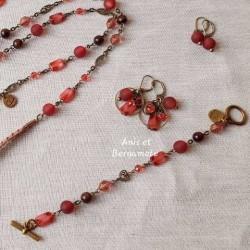 bracelet padparadcha rose orangé